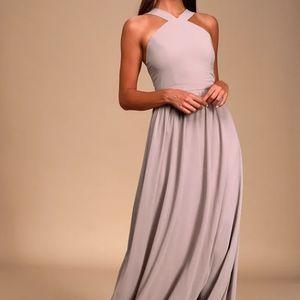 Lulus Air of Romance Taupe Maxi Dress